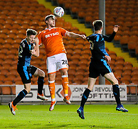 Blackpool's Steve Davies battles in the air with West Bromwich Albion U21&rsquo;s George Harmon<br /> <br /> Photographer Alex Dodd/CameraSport<br /> <br /> The EFL Checkatrade Trophy Northern Group C - Blackpool v West Bromwich Albion U21 - Tuesday 9th October 2018 - Bloomfield Road - Blackpool<br />  <br /> World Copyright &copy; 2018 CameraSport. All rights reserved. 43 Linden Ave. Countesthorpe. Leicester. England. LE8 5PG - Tel: +44 (0) 116 277 4147 - admin@camerasport.com - www.camerasport.com