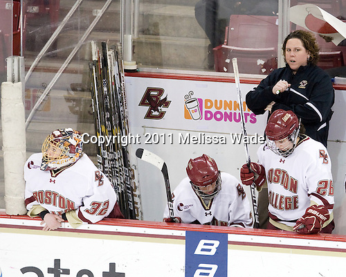Kiera Kingston (BC - 32), Dru Burns (BC - 7), Courtney Kennedy (BC - Assistant Coach), Jessica Martino (BC - 26) - The Boston College Eagles defeated the Harvard University Crimson 3-1 to win the 2011 Beanpot championship on Tuesday, February 15, 2011, at Conte Forum in Chestnut Hill, Massachusetts.
