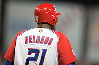 9 March 2009: #21 Carlos Delgado of Puerto Rico waits in the batters box during the 2009 World Baseball Classic Pool D game 4 at Hiram Bithorn Stadium in San Juan, Puerto Rico. Puerto Rico wins 3-1 over Netherlands