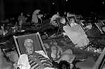 Crowds of well wishers sleep out the night before along The Mall, the parade route so as to get a better view  of the royal procession on the couples wedding day. Wednesday 29 July 1981  UK