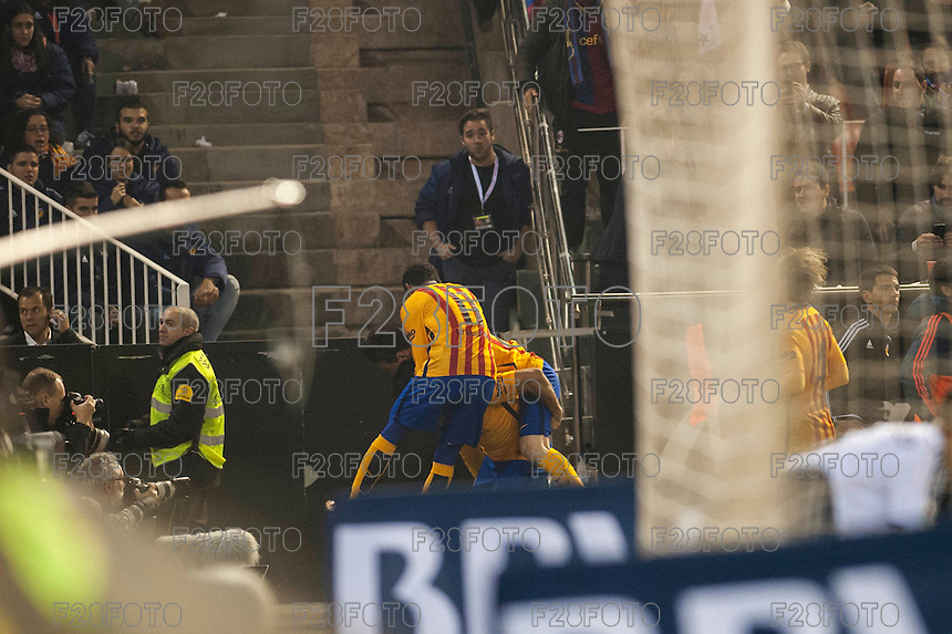 VALENCIA, SPAIN - DECEMBER 5: Barcelona celebrating his 1st goal during BBVA LEAGUE match between Valencia C.F. and FC Barcelona at Mestalla Stadium on December 5, 2015 in Valencia, Spain
