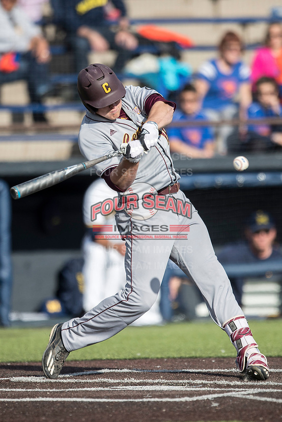 Central Michigan Chippewas outfielder Daniel Jipping (16) swings the bat against the Michigan Wolverines on May 9, 2017 at Ray Fisher Stadium in Ann Arbor, Michigan. Michigan defeated Central Michigan 4-2. (Andrew Woolley/Four Seam Images)