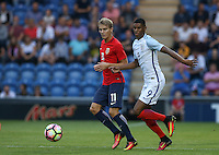 Marcus Rashford (Manchester United) of England & Martin Odegaard (Real Madrid) of Norway in action during the International EURO U21 QUALIFYING - GROUP 9 match between England U21 and Norway U21 at the Weston Homes Community Stadium, Colchester, England on 6 September 2016. Photo by Andy Rowland / PRiME Media Images.