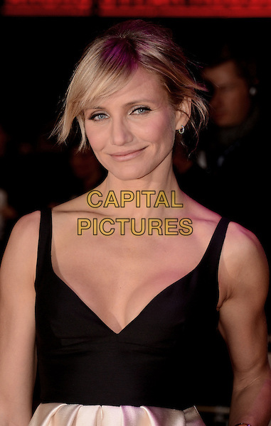 Cameron Diaz.'Gambit' world film premiere, Empire cinema, Leicester Square, London, England..7th November 2012..half length sleeveless fringe bangs hair black low cut neckline cleavage.CAP/WIZ.© Wizard/Capital Pictures.