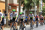 The peloton pass through Almussafes during Stage 4 of La Vuelta 2019 running 175.5km from Cullera to El Puig, Spain. 27th August 2019.<br /> Picture: Eoin Clarke | Cyclefile<br /> <br /> All photos usage must carry mandatory copyright credit (© Cyclefile | Eoin Clarke)