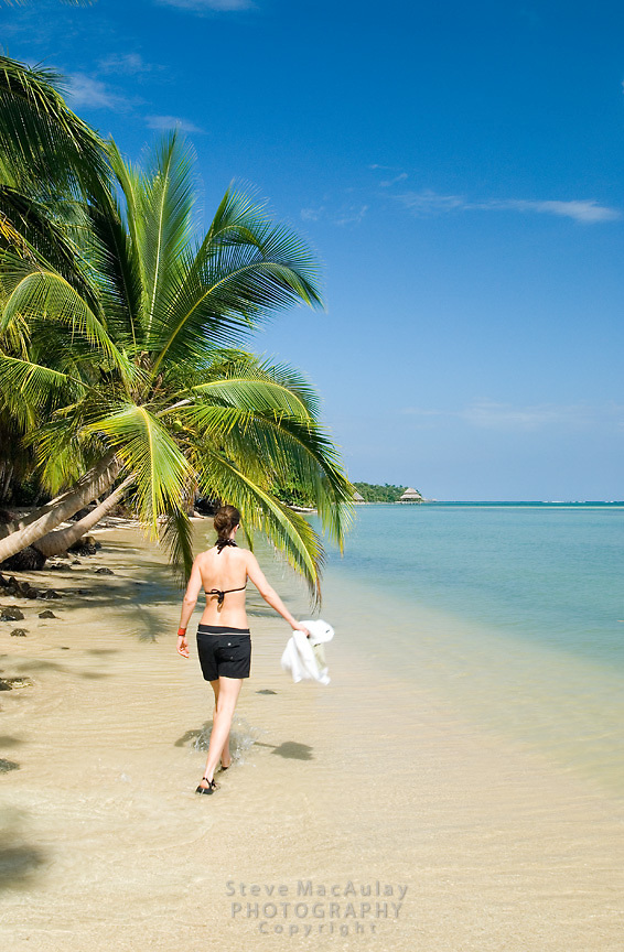 Out for a stroll on the beautiful tropical beach, Isla Bastimentos, Bocas Del Toro, Panama