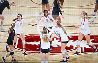 STANFORD, CA - October 12, 2018: Morgan Hentz, Audriana Fitzmorris, Tami Alade, Meghan McClure, Jenna Gray, Kathryn Plummer at Maples Pavilion. No. 2 Stanford Cardinal swept No. 21 Washington State Cougars, 25-15, 30-28, 25-12.