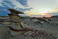 Very strange rock formations known as hoodoos in the Bisti Wilderness area in northwest New Mexico. Excellent example of the power of erosion.