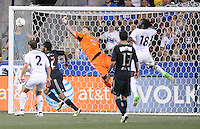 MLS All-Stars goalkeeper Dan Kennedy (22)  goes up to make a save. The MLS All Stars Team defeated Chelsea FC 3-2 at PPL Park Stadium, Wednesday 25, 2012.