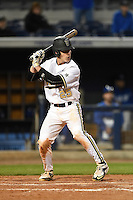 Vanderbilt Commodores catcher Karl Ellison (25) at bat during a game against the Indiana State Sycamores on February 20, 2015 at Charlotte Sports Park in Port Charlotte, Florida.  Vanderbilt defeated Indiana State 3-2.  (Mike Janes/Four Seam Images)