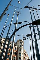 Street lamps outside the Museo de Bellas Artes. Bilbao travel assignment National Geographic Traveler en Español. Bilbao, Spain, January 2009