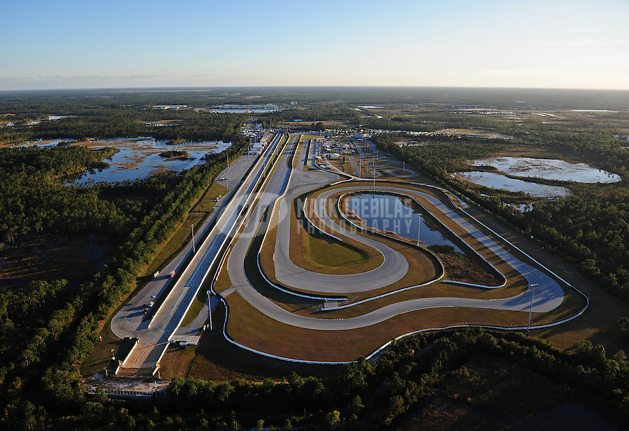 Jan. 20, 2012; Jupiter, FL, USA: Aerial view of Palm Beach International Raceway during NHRA testing at the PRO Winter Warmup. Mandatory Credit: Mark J. Rebilas-