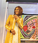 Cicely Tyson and painting for Cicely - The 11th Annual Skating with the Stars Gala - a benefit gala for Figure Skating in Harlem - honoring Cicely Tyson (film, tv and stage actress and was on The Guiding Lignt) on April 11, 2016 on Park Avenue in New York City, New York with many Olympic Skaters and Celebrities. (Photo by Sue Coflin/Max Photos)