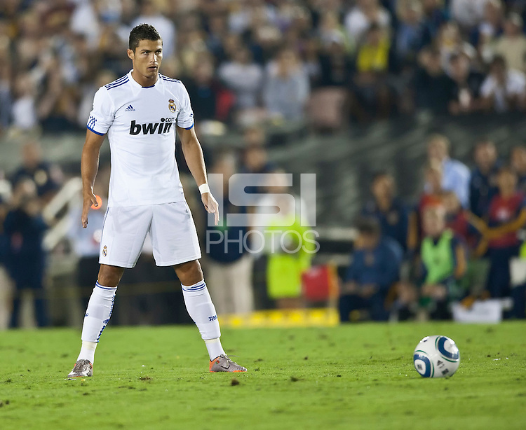 Real midfielder Cristiano Ronaldo prior to a penalty kick during the second half of the friendly game between LA Galaxy and Real Madrid at the Rose Bowl in Pasadena, CA, on August 7, 2010. LA Galaxy 2, Real Madrid 3.