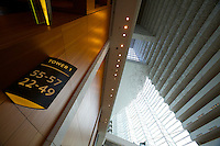 Singapore. Marina Bay Sands Hotel. the atrium lobby. Access to elevators.