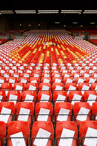 April 5th 2017,  Anfield, Liverpool, Merseyside; EPL Premier league football, Liverpool versus Bournemouth; Cards on seats at the Kop which will form a mosaic tribute to the 96 Hillsborough victims
