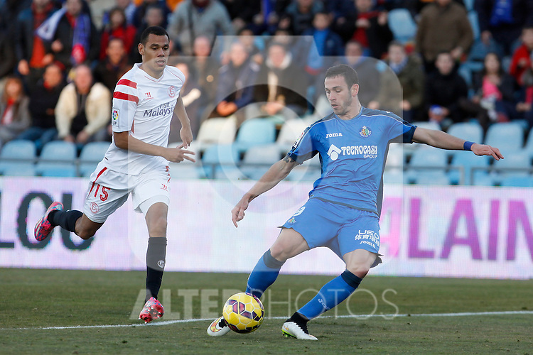 Getafe´s Alvaro (R) and Sevilla´s Kolo during 2014-15 La Liga match at Alfonso Perez Coliseum stadium in Getafe, Spain. February 08, 2015. (ALTERPHOTOS/Victor Blanco)