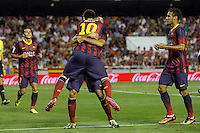 FC Barcelona's Pedro Rodriguez, Leo Messi, Cesc Fabregas and Neymar Santos Jr celebrate goal during La Liga match.September 1,2013. (ALTERPHOTOS/Acero) <br /> Football Calcio 2013/2014<br /> La Liga Spagna<br /> Foto Alterphotos / Insidefoto <br /> ITALY ONLY