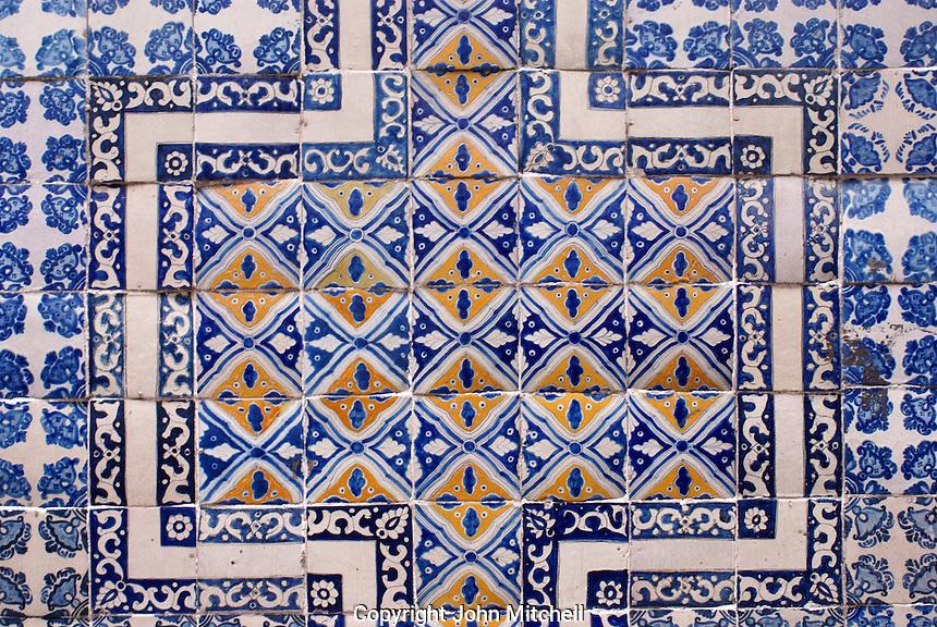 Talavera tiles on the exterior wall of the House of Tiles or Casa de Azulejos in downtown Mexico City
