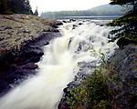 Upper Rainbow Falls, Rainbow Falls Provincial Park, Ontario, Canada, June, 1987, 7AM