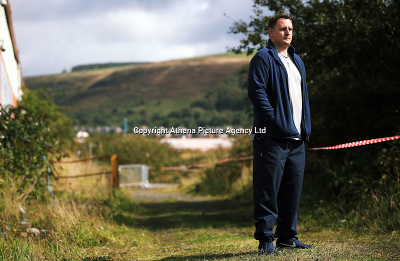 """Pictured: Actor Sam Coombes who plays Lewis<br /> Re: Press rehearsal of """"We'Re Still Here"""", a play created by Rachel Trezise, Common Wealth and the National Theatre Wales about steelworkers, which will be performed in Byass Works, a disused industrial unit, in Port Talbot, south Wales, UK."""