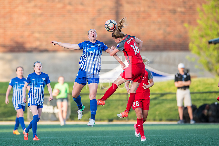 Boston, MA - Friday May 19, 2017: Natasha Dowie and Emily Sonnett during a regular season National Women's Soccer League (NWSL) match between the Boston Breakers and the Portland Thorns FC at Jordan Field.