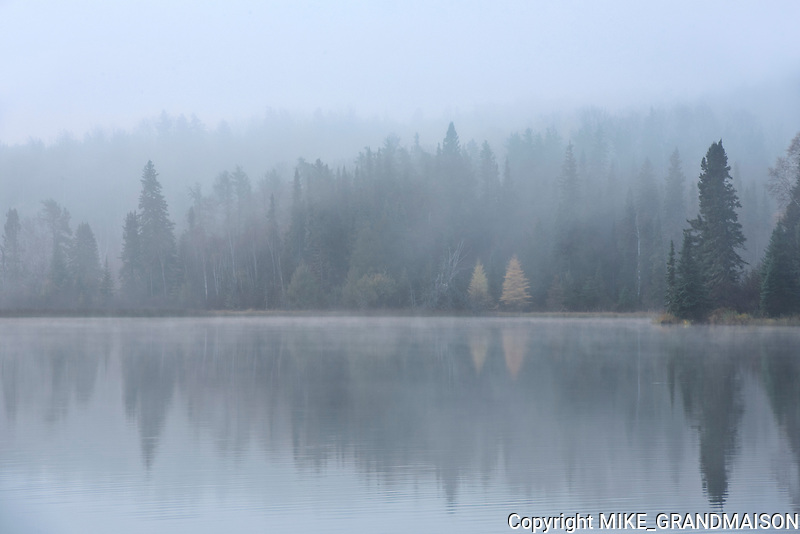 Long Lake reflection in fog<br />