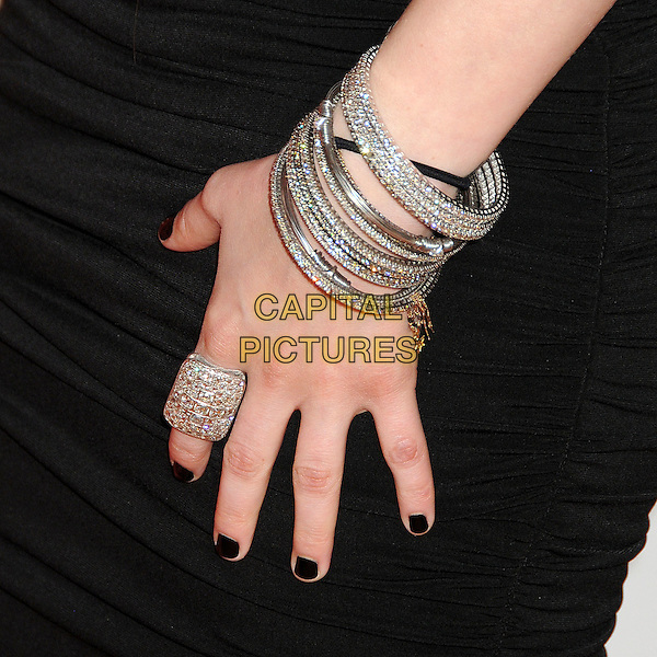 AVRIL LAVIGNE's bracelet.17th Annual Race To Erase MS held at the Hyatt Regency Century Plaza Hotel, Century City, California, USA..May 7th, 2010.black hands silver ring bracelets nail varnish polish jewellery jewelry .CAP/ADM/BP.©Byron Purvis/AdMedia/Capital Pictures.