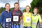 Anthony O'Regan Tralee, Martin O'Regan Tralee, Tomas Bubendorfer Killorglin and Elaine O'Connor Duagh at the Milltown 10km race on Sunday..