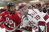 Viktor Liljegren (RPI - 12), Jimmy Vesey (Harvard - 19) - The Harvard University Crimson defeated the visiting Rensselaer Polytechnic Institute Engineers 5-2 in game 1 of their ECAC quarterfinal series on Friday, March 11, 2016, at Bright-Landry Hockey Center in Boston, Massachusetts.