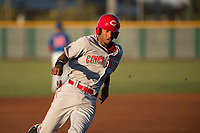 AZL Reds shortstop Reyny Reyes (16) rounds third base during an Arizona League game against the AZL Cubs 2 at Sloan Park on June 18, 2018 in Mesa, Arizona. AZL Cubs 2 defeated the AZL Reds 4-3. (Zachary Lucy/Four Seam Images)