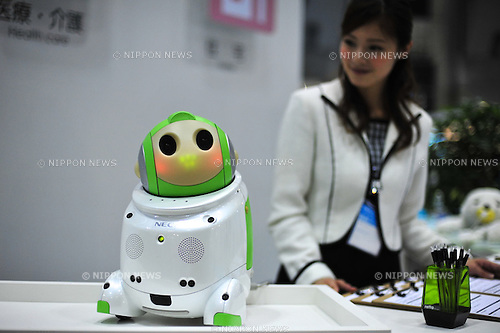 October 17, 2012, Tokyo, Japan - PAPERO by NEC inc., is displayed during Japan Robot Week 2012 at the Tokyo Bigsight. PAPERO is a robot, which can communicate with people and understand some words such as Konnichiwa, Ohayo, and so on. This exhibition is held to showcase new robots and high technology equipments for visitor. Japan Robot Week 2012 runs from October 17 - 19. (Photo by Yumeto Yamazaki/AFLO)