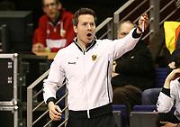 Trainer Stefan Kermas   gesture,  <br /> / Sport / Hockey Hnhockey / World Championships Weltmeisterschaft  /  2017/2018 / 07.02.2018 / GER BRGermany vs. Kasachstan  *** Local Caption *** © pixathlon<br /> Contact: +49-40-22 63 02 60 , info@pixathlon.de