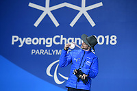 Day 7 / Snowboard banked SL. / Simon Patmore Bronze Medalist<br /> PyeongChang 2018 Paralympic Games<br /> Australian Paralympic Committee<br /> PyeongChang South Korea<br /> Friday March 16th 2018<br /> &copy; Sport the library / Jeff Crow