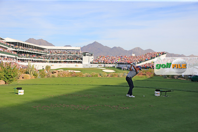 Rickie Fowler (USA) tees off the 16th tee during Friday's Round 2 of the Waste Management Phoenix Open 2018 held on the TPC Scottsdale Stadium Course, Scottsdale, Arizona, USA. 2nd February 2018.<br /> Picture: Eoin Clarke | Golffile<br /> <br /> <br /> All photos usage must carry mandatory copyright credit (&copy; Golffile | Eoin Clarke)