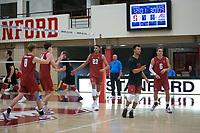 STANFORD, CA - December 30, 2017: Eric Beatty, Evan Enriques, Jaylen Jasper, Leo Henken, Kevin Rakestraw, Russell Dervay at Burnham Pavilion. The Stanford Cardinal defeated the Calgary Dinos 3-1.