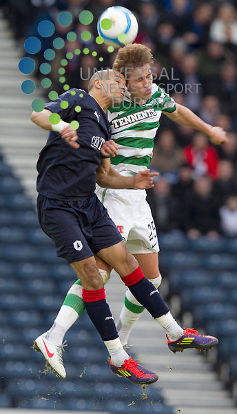 Farid El Alagui goes for Thomas Rogne of Celtic during the Scottish Communities League cup semi - final Falkirk FC v Celtic F.C, at Hampden park..Picture: Maurice McDonald/Universal News And Sport (Scotland). 29 January 2012. www.unpixs.com.