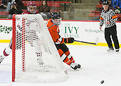 Brayden Jaw (Harvard - 10), Tucker Brockett (Princeton - 7) - The Harvard University Crimson defeated the visiting Princeton University Tigers 5-0 on Harvard's senior night on Saturday, February 28, 2015, at Bright-Landry Hockey Center in Boston, Massachusetts.