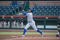 AZL Royals third baseman Rubendy Jaquez (3) follows through on his swing during an Arizona League game against the AZL Giants Black at Scottsdale Stadium on August 7, 2018 in Scottsdale, Arizona. The AZL Giants Black defeated the AZL Royals by a score of 2-1. (Zachary Lucy/Four Seam Images)