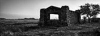 Davis Mountain State Park Pano at the overlook in black and white.  This old rock building was built as a place to rest up after a day of working the area and has a nice view over the desert and mountain landscape. This black and whiter Texas landscape in the Davis Mountain just after sunset was a great capture for the day.