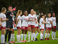 STANFORD, CA - November 23, 2018: Belle Briede, Alison Jahansouz, Jojo Harber, Catarina Macario, Sam Hiatt, Civana Kuhlmann, Jaye Boissiere, Michelle Xiao, Naomi Girma at Laird Q. Cagan Stadium. The top seeded Stanford Cardinal defeated the Tennessee Volunteers 2-0 in the Quarterfinal of the NCAA tournament.