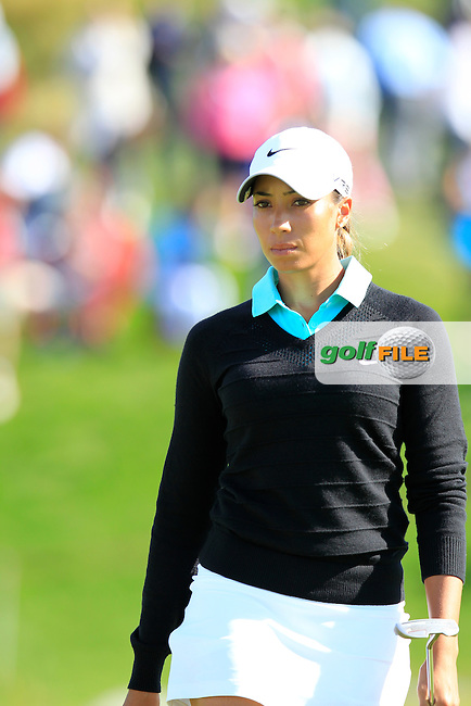 Cheyenne Woods (USA) on the 18th green during Friday's Round 2 of The Evian Championship 2014 held at the Evian Resort Golf Club, Evian-les-Bains, France.: Picture Eoin Clarke, www.golffile.ie: 12th September 2014