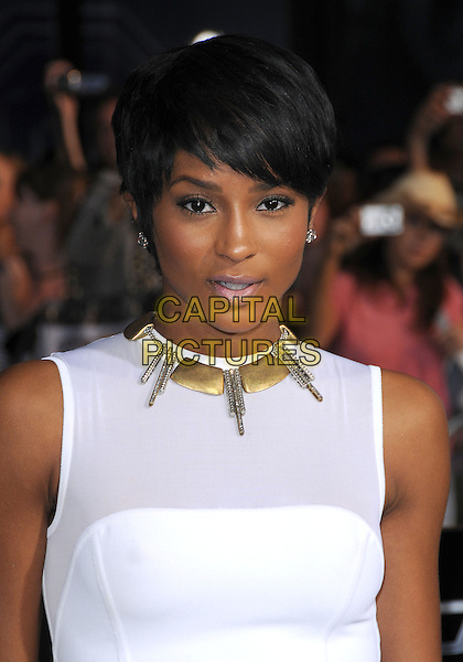 """CIARA (Ciara Princess Harris).""""G.I. Joe: The Rise Of Cobra"""" Los Angeles Premiere held at Grauman's Chinese Theatre, Hollywood, CA, USA, .August 6th, 2009.headshot portrait white statement spikes necklace gold diamond stud earrings .CAP/DVS.©Debbie VanStory/Capital Pictures."""
