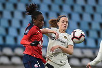 20190113 - LILLE , FRANCE : LOSC's Ouleymata Sarr (L) and PSG's Irene Paredes (R) pictured during women soccer game between the women teams of Lille OSC and Paris Saint Germain  during the 16 th matchday for the Championship D1 Feminines at stade Lille Metropole , Sunday 13th of January 2019,  PHOTO Dirk Vuylsteke | Sportpix.Be
