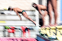 Gabriele Detti dives to start a training session.  <br /> Italian athletes were able to resume training last week after more than 50 days of lockdown due to the coronavirus (covid-19) pandemic <br /> Roma 12-5-2020 Centro Federale di Ostia <br /> Photo Andrea Staccioli / Deepbluemedia / Insidefoto