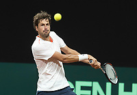 The Hague, The Netherlands, September 11, 2017,  Sportcampus , Davis Cup Netherlands - Chech Republic, training, Robin Haase (NED)<br /> Photo: Tennisimages/Henk Koster