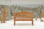 Sullivan County. Bench overlooking winter snow scene.