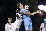 16 September 2016: North Carolina's Nils Bruening (GER) (14) and Pitt's Stephane Pierre (left). The University of North Carolina Tar Heels hosted the University of Pittsburgh Panthers in Chapel Hill, North Carolina in a 2016 NCAA Division I Men's Soccer match. UNC won the game 1-0.