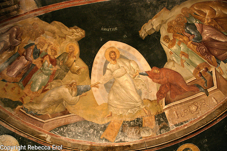 KARIYE MUSEUM FORMERLY THE CHURCH OF ST SAVIOUR IN CHORA, ISTANBUL, TURKEY. Fresco showing Jesus raising Adam and Eve from the grave on the Day of Judgement.