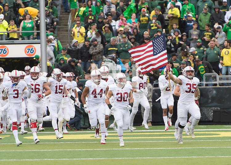 Eugene, OR - November 12, 2016: The Stanford Cardinal vs the Oregon Ducks at Autzen Stadium. Final score Stanford 52, Oregon Ducks 27.
